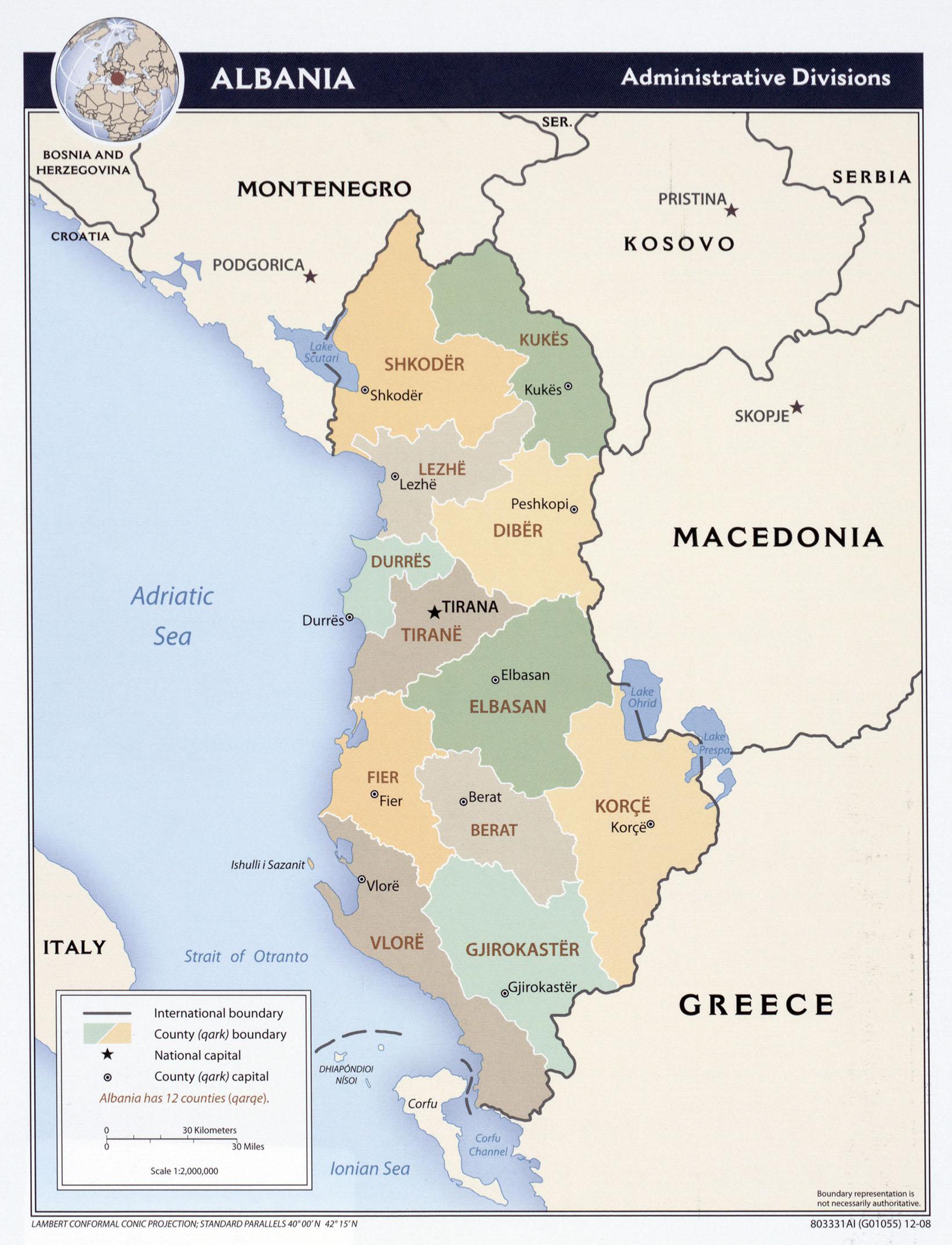 Albania: mapa geográfico